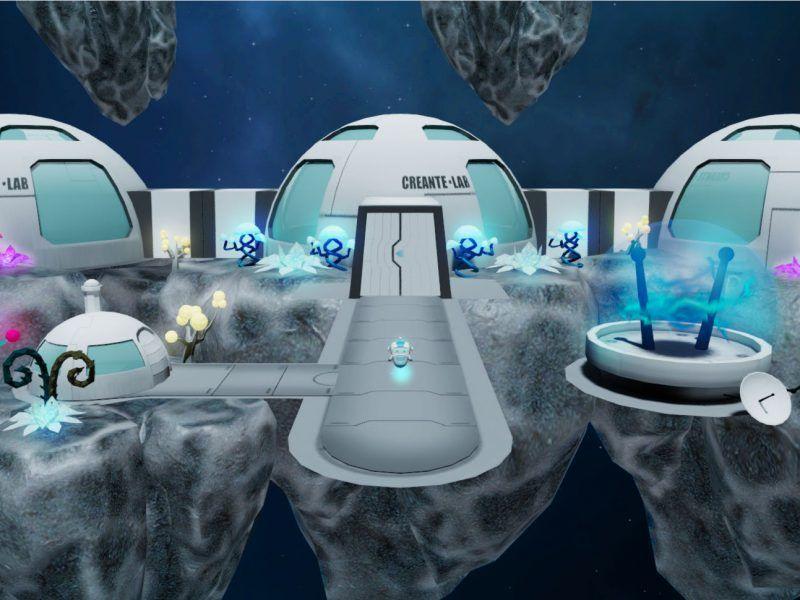 muestra del laboratorio virtual de Creante.lab ubicado en el espacio, con algunas plantas espaciales, y nuestro amigo CR3ANT3
