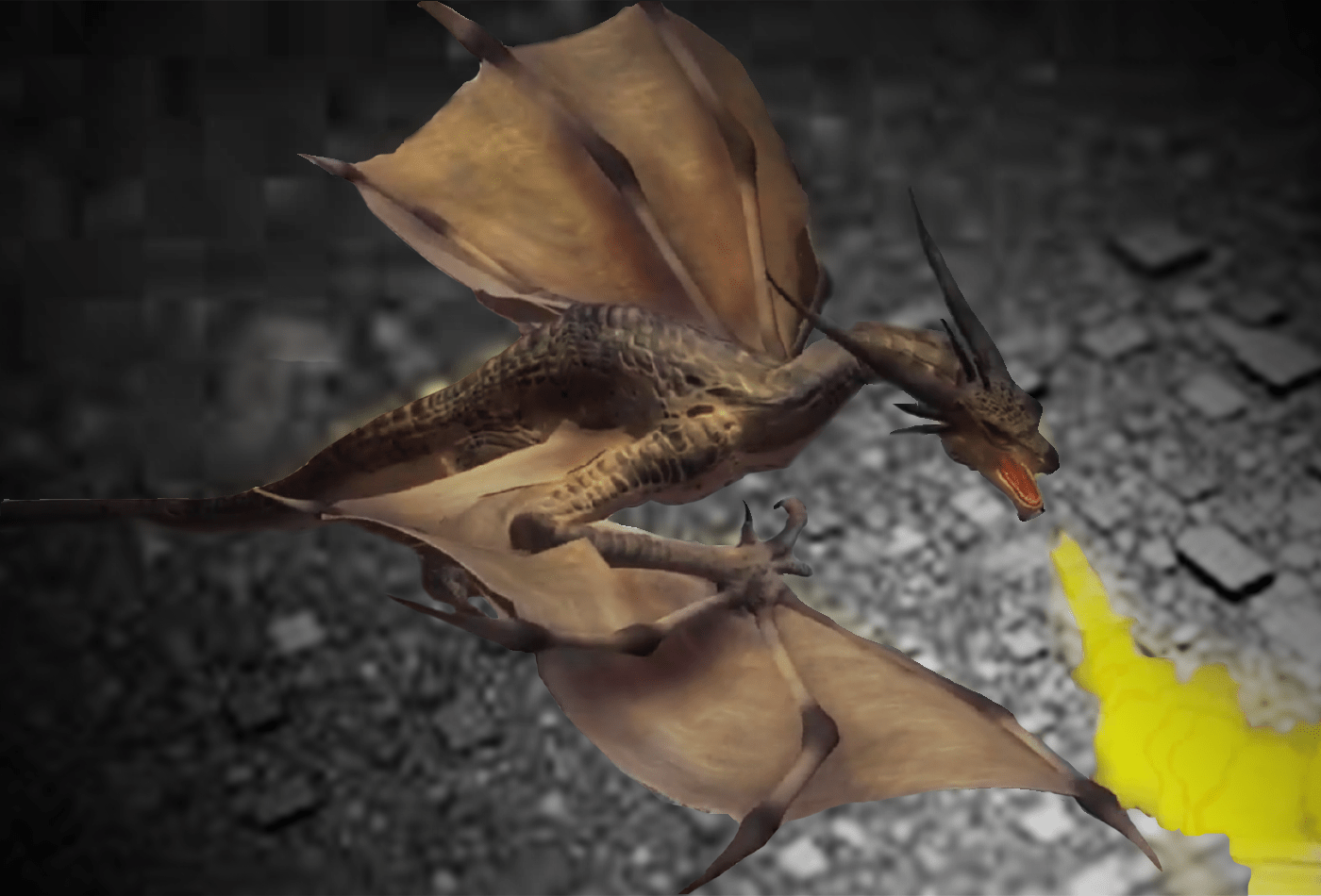 Dragón en realidad aumentada lanzando fuego