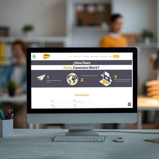página de Inicio del portal Parts conexion desarrollado por creante para conectar a vendedores y compradores de partes de maquinaria pesada