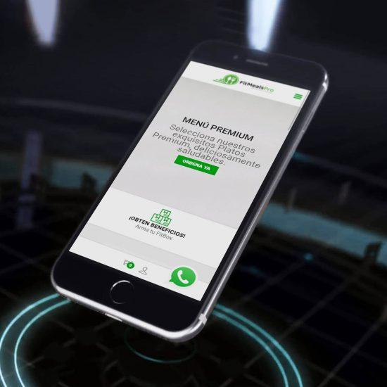 muestra de nuestra app Fit meals en su página de inicio