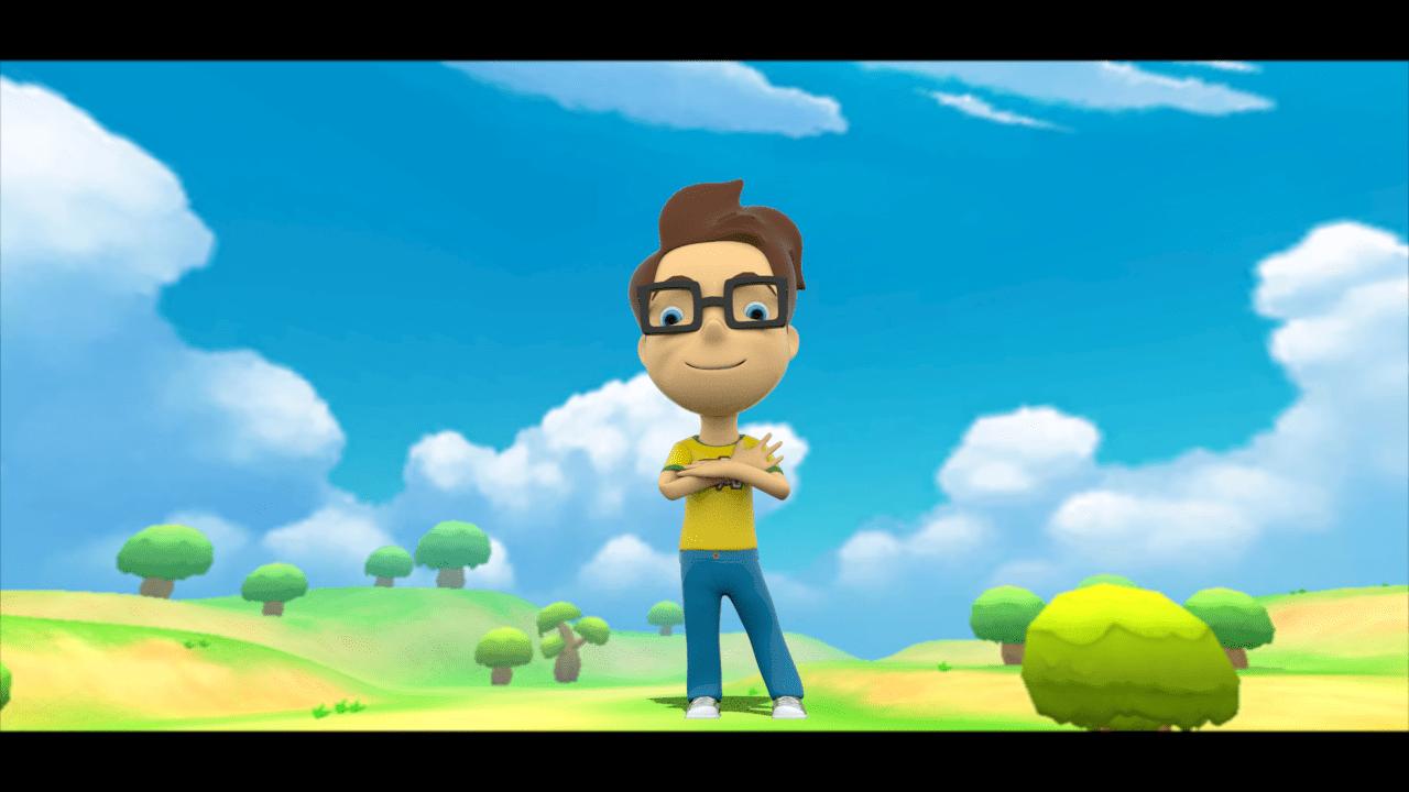 Tomas, un niño en 3Dcon camisa amarilla, jeans y gafas