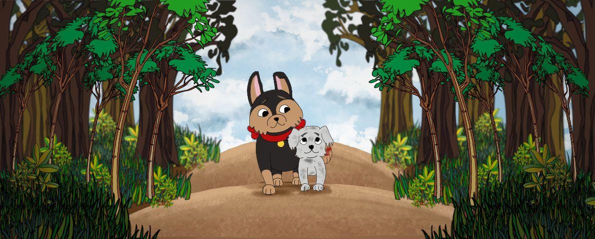 Ilustración de dos perritos reconciliándose ya que el más pequeño ayuda al otro al caminar