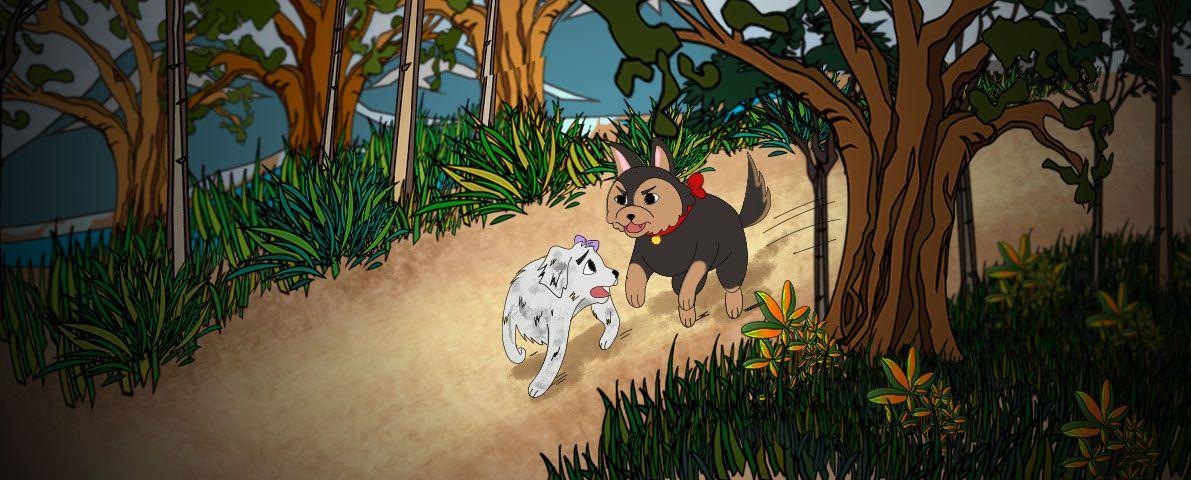 Ilustración de un Cuento se ve a un perro siendo perseguido por otro por un camino