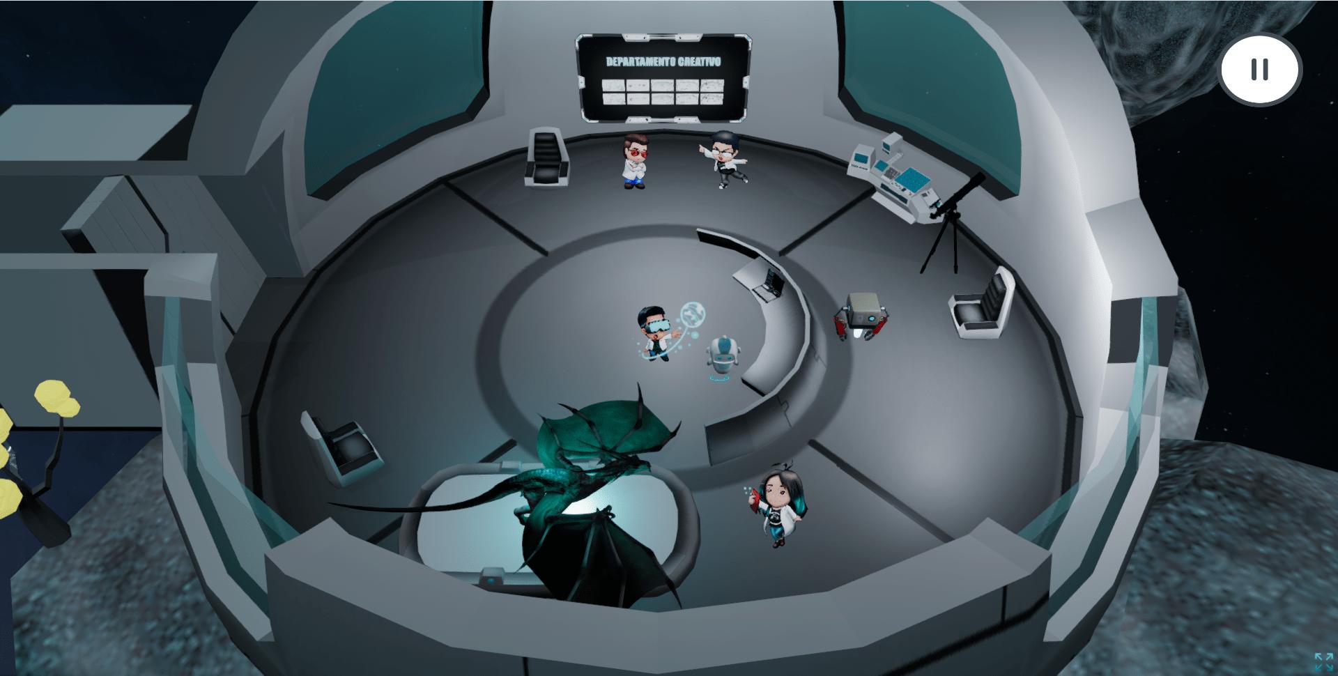 Laboratorio virtual del equipo creativo, donde se muestra un dragón simulando realidad virtual y las ilustraciones del equipo creativo