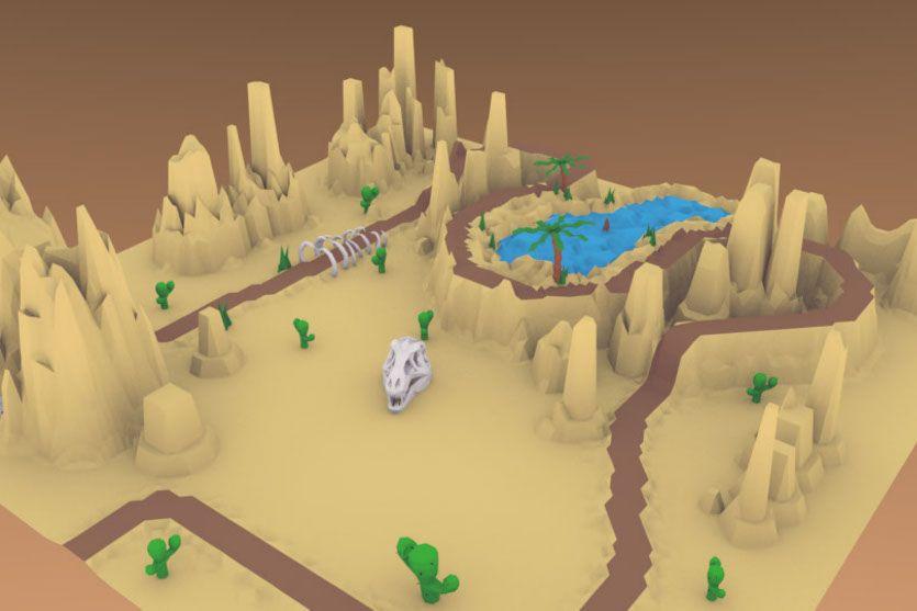 Escenario de un desierto en 3D