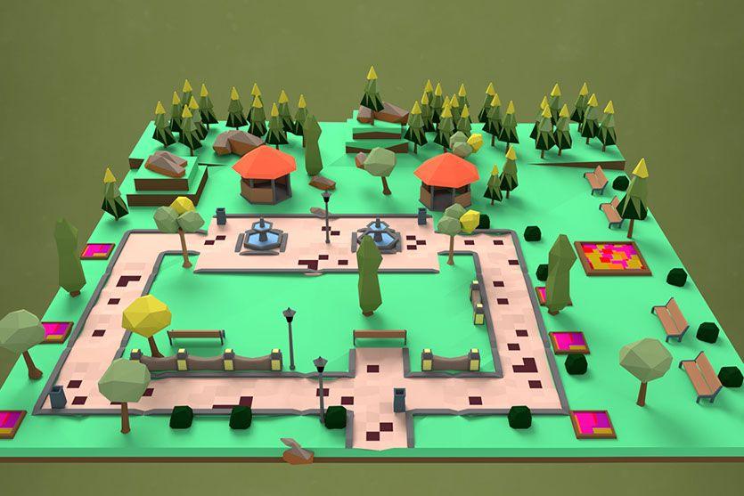 Escenario 3D del juego poop