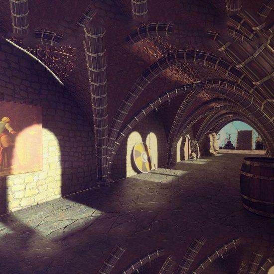 muestra de videojuego mostrando un museo virtual en la época medieval
