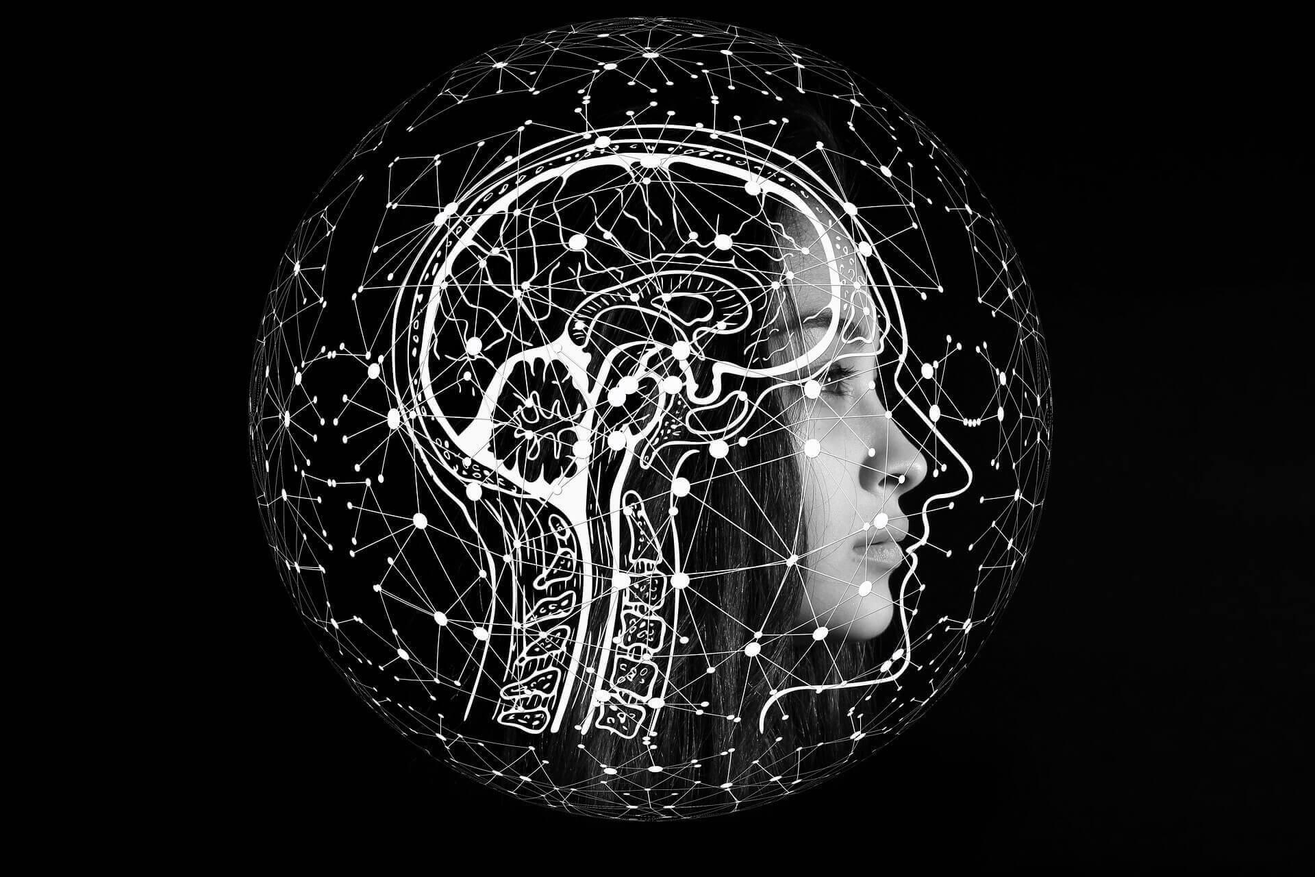 ilustración de cerebros y neuronas sobrepuestas sobre la cara de una mujer